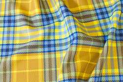 Fashion checks in brass-yellow and blue with stretch