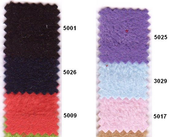 Fleece in many colors, black, purple, pink