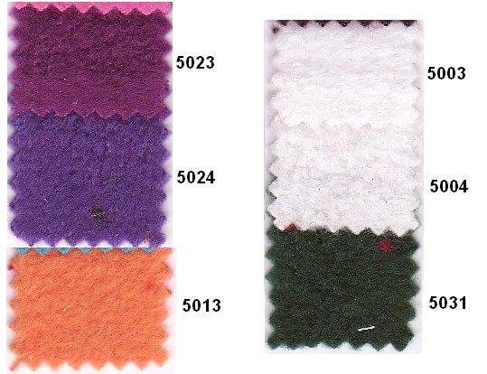 Fleece in many colors such as purple, white, dark green, orange