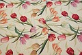 Furniture fabric in creme color with tulips.