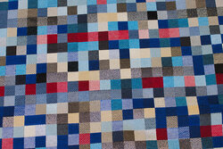Furniture-tapestry in beautiful blue nuances with lidt silver and red