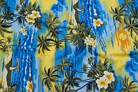 Hawaii-cotton in blue and yellow with palm trees