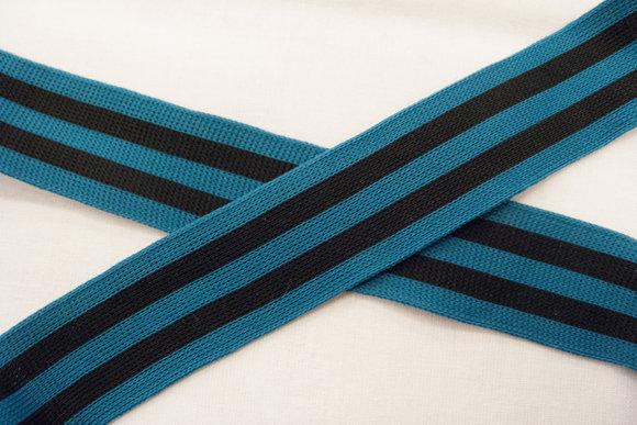 Knitted ribbon petrolandblack 3,5cm