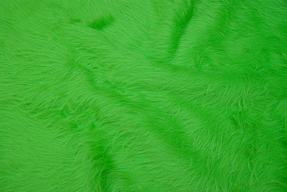 Light bright green, longhaired fake fur