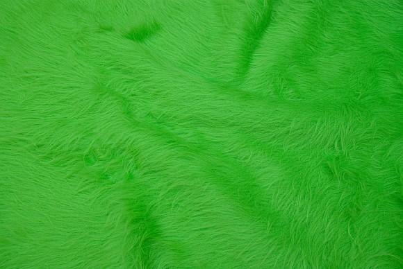 Light bright green, longhaired fake fur