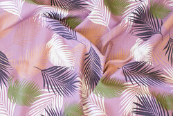 Light dusty-purple cotton-jersey with ca. 8 cm big leaves