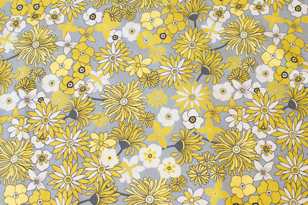 Light grey cotton-jersey with yellow flowers