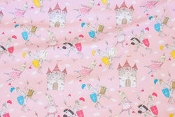 Light red cotton-jersey with princesses and knights