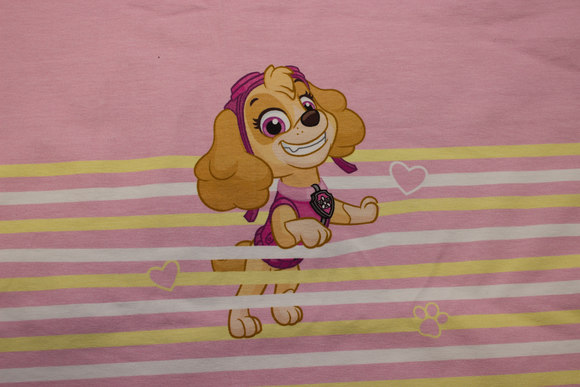 Light red and yellow front-piece in cotton-jersey with paw patrol