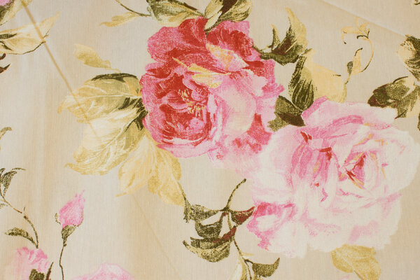 Light sand-colored deco-cotton with big roses