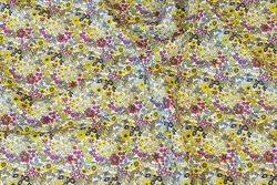 Light, soft cotton-batiste with mini-flowers in yellow-green and heather colors