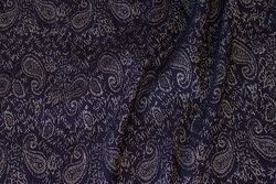 Navy bengalin with silvergrey paisley pattern