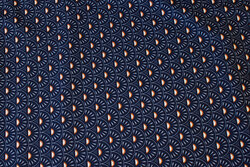 Navy, firm cotton with ca. 3 cm retro-pattern