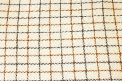 Off white, classic furniture pure wool with brown checks