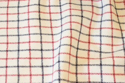 Off white, classic furniture pure wool with navy and red checks