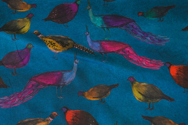 Petrol-colored cotton-jersey with pheasants, peacocks etc.