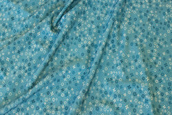 Petrol viscose jersey with mini-flower