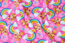 Pink cotton-jersey with Paw Patrol and rainbows