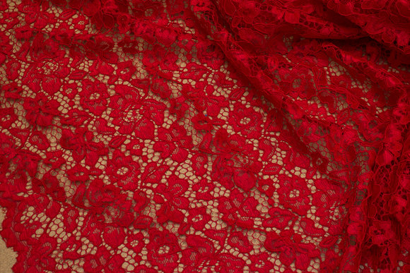 Red dress-lace-fabric with scallop edge in both sides