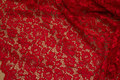 Red dress-lace-fabric with scallop edge in both sides.