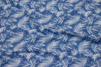 Sky-blue cotton-jersey with white feather-motifs