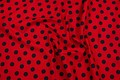 Strong red cotton with big black dots