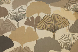 Textile-table-cloth with leaves in grey-brown nuances