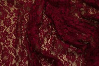 Wine-red dress-lace-fabric with scallop edge in both sides