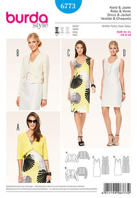 Burda 6773. Dress, sleeveless jacket, hipster cut.
