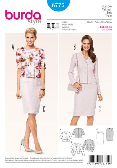 Suit, peplum jacket, pencil skirt