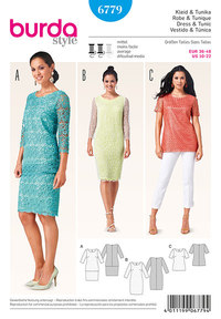 Burda pattern: Dress, Tunic, lace fabric