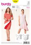 Dress, color-blocking, mix of materials