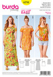 These airy Empire-line dresses with elastic casing spread pure summer feeling. The necklines are individually designed. Sew the matching top to wear underneath in one go.