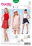 Three hip and trendy young summer skirts with swing. Nicely fitted to the hips and either bell-shaped or with ruffles. Two flounces are added to skirt C, the upper flounce is shortened at one side, leaving the white reverse side of the lower flounce exposed. .
