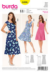 Sew your favorite dress not only for one summer. Charming details are the slight square neck, the accentuated waist and the two godets springing from the front waist darts and providing this beautiful swing. Fanciful prints complete the look.