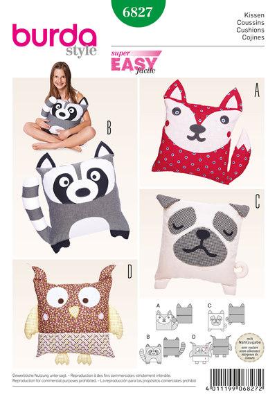 Cushions, animal motifs, dog, cat, owl, raccoon