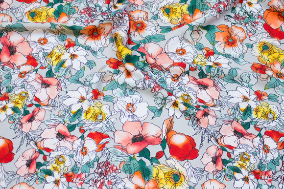 Light grey polyester microsatin with flowers in coral, yellow and green