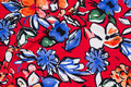 Lightweight, red micro-polyester with big flowers in blue and red.
