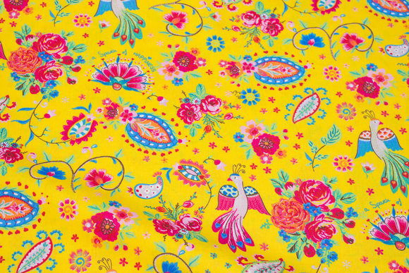 Clear yellow cotton with birds and flowers