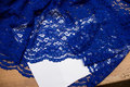 Cobolt blue dress-lace-fabric with scallops in both sides. 20,02
