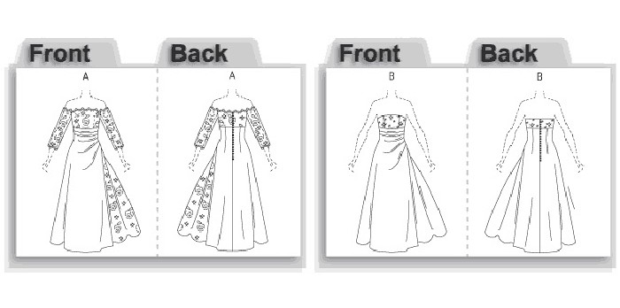 Lined dress, floor-length has close-fitting, boned self fabric or contrast bodice with front princess seams, raised waist, skirt front drape, flared skirt with self fabric or contrast godet, back button and loop closing. A: contrast overbodice and below-elbow sleeves.