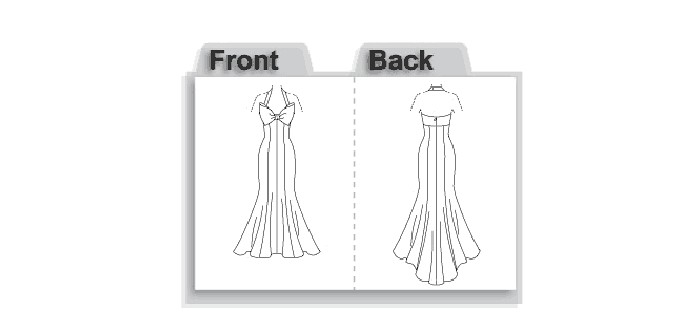 Fitted, lined dress has princess seams with bow and front bra, back invisible zipper closing and neck straps. Built-in foundation with boning, hook and eye tape closing. Floor length.