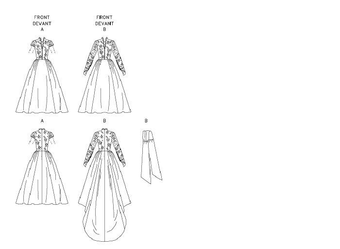 Lined dresses A, B have contrast bodice, contrast sleeve, front and back darts, skirt with gathered sides, re-applied lace, front nonfunctioning loops and back zipper. A: short sleeves and purchased ribbon sash. B: long sleeves with button loop closure, train and gathered sash.