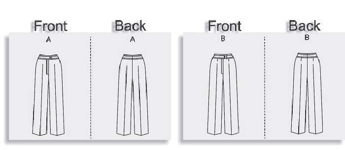 Straight-legged pants (semi-fitted through hip) have contour, front button yoke and mock-fly zipper. A: couture construction. B: darts.