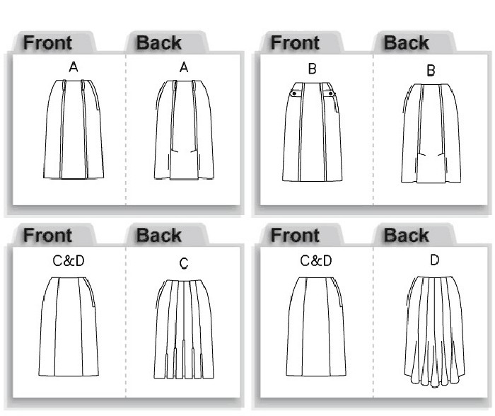 Semi-fitting, straight skirt, below mid-knee has front princess seams and side zipper. A, B: back vents. B: tab with button trim. C: back pleats. D: gored back and shaped hem.