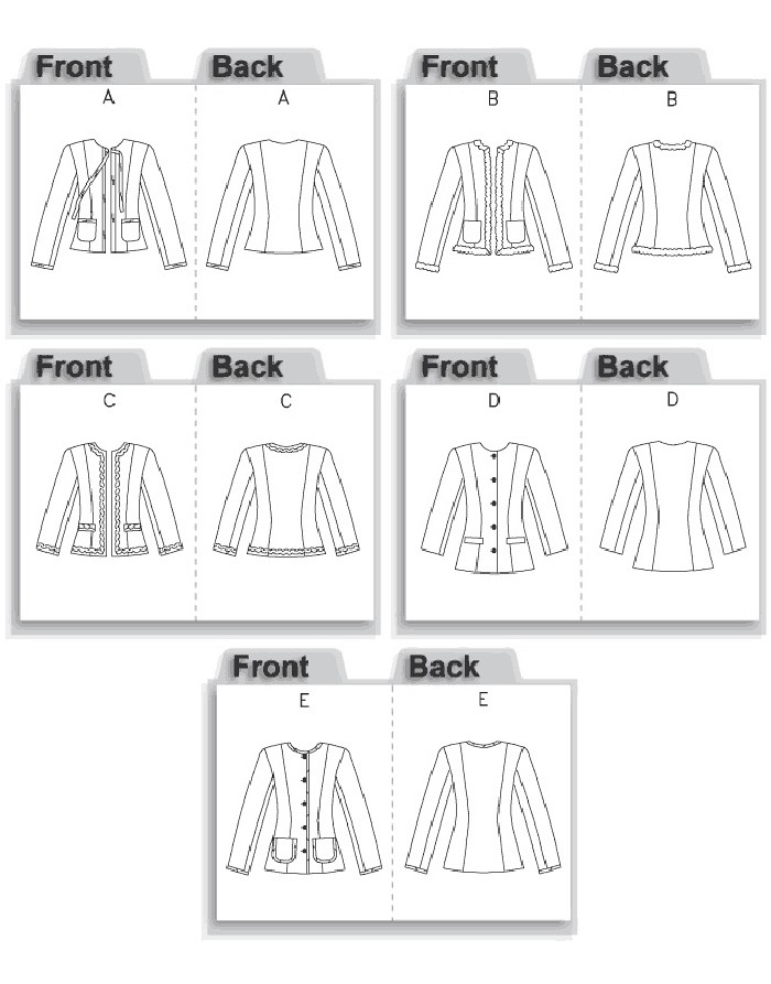 Lined jacket in two lengths with high round neckline. A, B: short length, has long sleeves and patch pockets. A: purchased ribbon ties and trim. B: purchased trim on outer edges. C: three-quarter length sleeves, mock welt pockets, purchased trim along outer edges of jacket. D: button front, three-quarter length sleeves and mock welt pockets. E: button front, full length sleeves, patch pockets, outer edges trimmed with purchased fold-over braid. D, E: longer length.