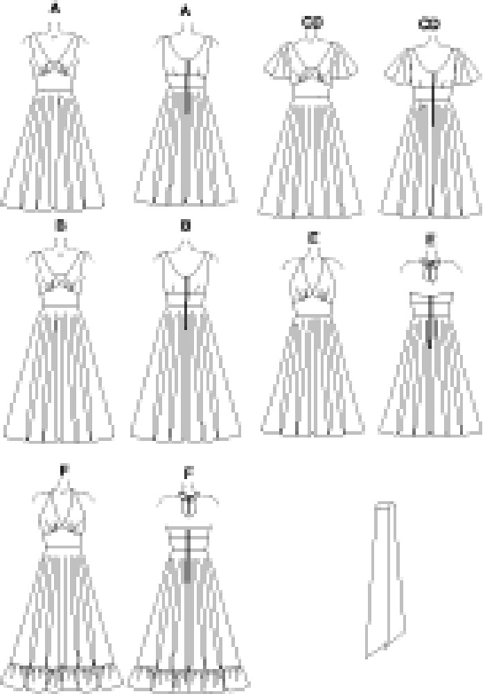 Lined dress, below mid-knee or lower calf has fitted bodice with neckline variations, midriff and back zipper, flared circular skirt with or without ruffle. A, B, C, D: lined underbodice front. C: contrast midriff and sash. C, D: sleeves. A, E: sash. E, F: halter bodice with tie ends.