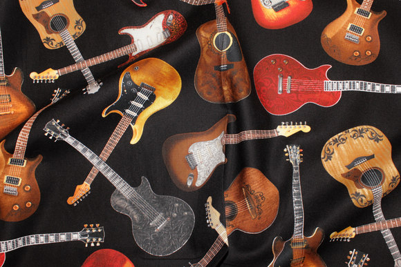 Guitars on patchwork-cotton