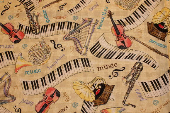 Violin, horn and piano on patchwork-cotton