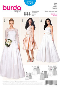 Corset dress, wedding dress, lace bodice, underskirt from tulle. Burda 6776.